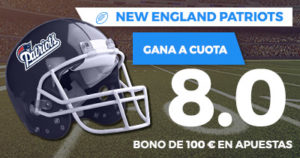 Supercuota Paston NFL - New England Patriots gana a cuota 8.0